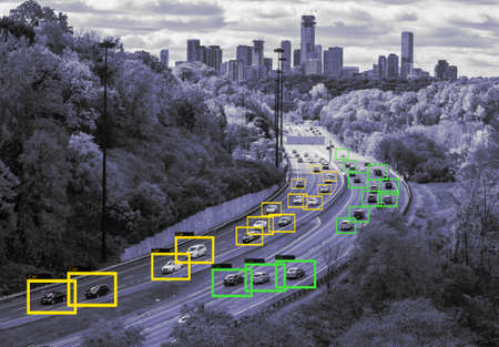 Machine Learning and AI to Identify Objects technology, Traffic report, Image processing, Recognition technology. Banque d'images