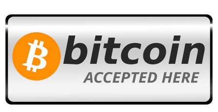 Bitcoin icon banner with text bitcoin accepted here, Cryptocurrency welcome banner