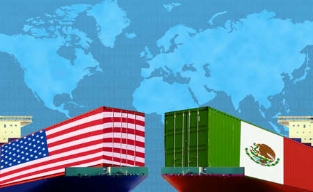 Concept image of  USA - Mexico trade war, Economy conflict, US tariffs, Tax, Trade frictions