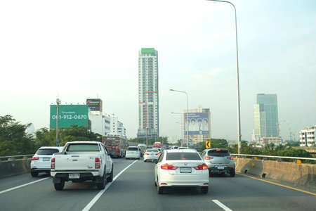 Bangkok, Thailand - 4 Oct 2018 :  Cars Traffic on Sirat Expressway in Bangkok at the morning.