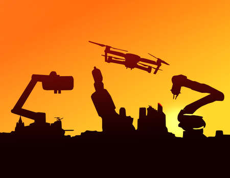 Silhouette of automation robot arms, Industry 4.0 , Artificial intelligence , Concept