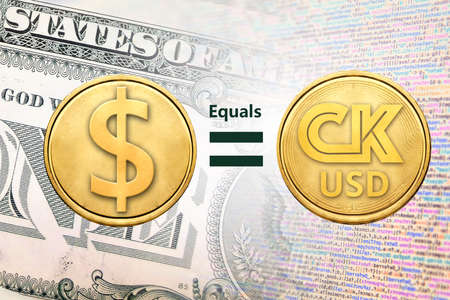 Concept image of CK USD coin equal to USD coin, Cryptocurrency 版權商用圖片