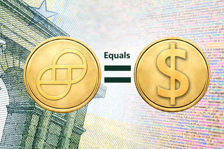 Concept image of Gemini dollar (GUSD) coin equal to USD coin, Cryptocurrency