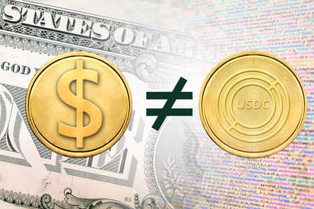 Concept image of USDC coin unequal to USD coin, Cryptocurrency Stock fotó