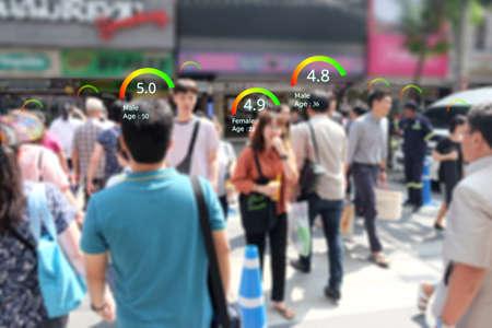 Concepto de puntaje de crédito social, análisis de inteligencia artificial inteligente que identifica la tecnología de la persona, calificación inteligente, reputación.