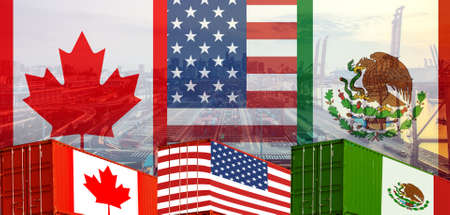 Concept of USMCA or the new NAFTA United States Mexico Canada agreement, trade deal and economic dea 版權商用圖片 - 111176565