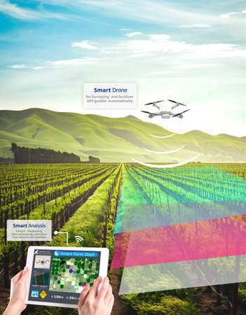 Smart farming, Hi-Tech Agriculture revolution, Drone AI automatic, Conceptual Stock fotó