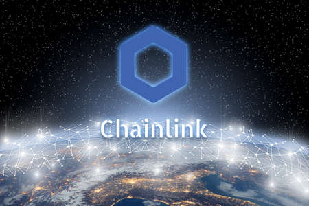 Concept of Chainlink coin floating over world network, a Cryptocurrency blockchain platform , Digital money