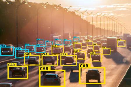Tecnología de aprendizaje automático e inteligencia artificial para identificar objetos, concepto de inteligencia artificial. Procesamiento de imágenes, tecnología de reconocimiento.