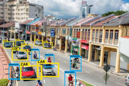 Intelligence artificielle IA pour identifier la technologie des objets, concept d'apprentissage automatique. Traitement d'image, Technologie de reconnaissance.