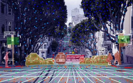 Concetto di guida autonoma che mostra il sistema di segnale del sensore Lidar, Radar e Canemra, guida autonoma
