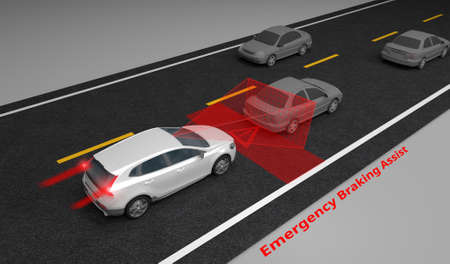 Emergency Braking Assist (EBA) sysyem to avoid car crash concept. Smart Car technology, 3D rendering image.