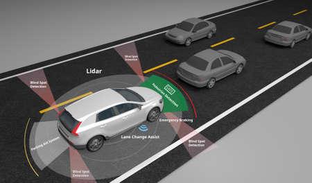 Auto elettrica a guida autonoma che mostra l'uso dei sensori Lidar e di sicurezza, rendering 3d.