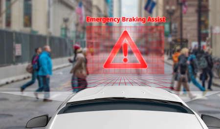Emergency Braking Assist (EBA) sysyem to avoid car crash concept. Stock Photo