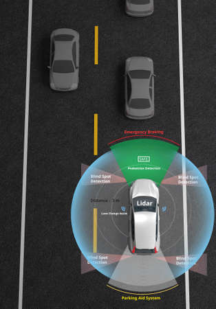 Smart car, Autonomous self-driving car with Lidar, Radar and wireless signal communication, Artificial intelligence technology to Identify Objects, 3d rendering. Reklamní fotografie