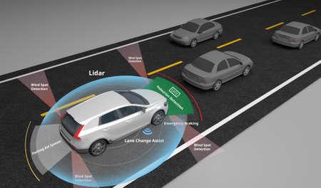 Voiture électrique autonome montrant l'utilisation des capteurs Lidar et de sécurité, rendu 3d. Banque d'images