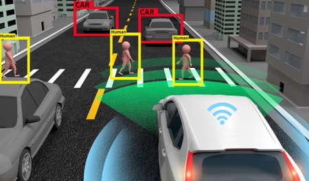 Intelligentes Auto, maschinelles Lernen und KI zur Identifizierung von Objekten, Konzept der künstlichen Intelligenz. Bildverarbeitung, Erkennungstechnologie. 3D-Rendering. Standard-Bild