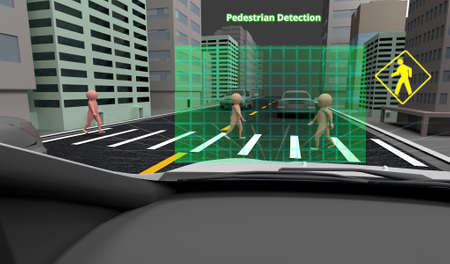 Pedestrian Detection technology, Autonomous self-driving car with Lidar, Radar and wireless signal communication, 3d rendering.