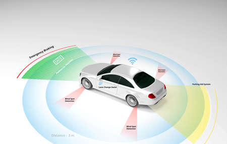Autonomous self-driving electric car showing Lidar, Radar Safety sensors, Smart car, 3d rendering. Stock Photo
