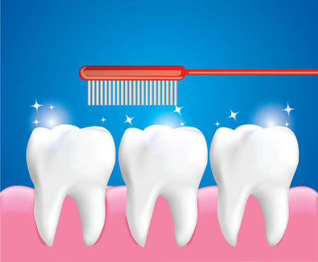 Teeth brushing for Cleaning Teeth, Dental care concept, Realistic design illustration Vector. Illustration