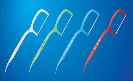 Dental Floss Picks, Multi-color Dental Cleaning Tool, , Illustration Vector Ilustrace