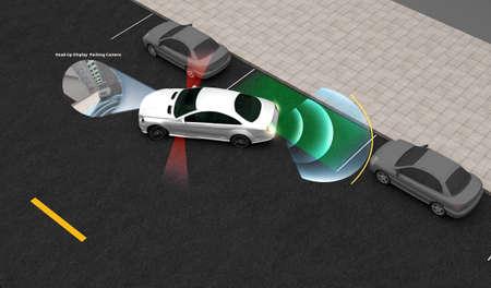 Slimme auto, parkeerhulpsysteem met head-up display, 3D-weergavebeeld. Stockfoto
