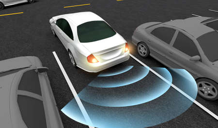 Coche inteligente, se estaciona automáticamente en el estacionamiento con sistema de asistencia de estacionamiento, imagen de renderizado 3D.