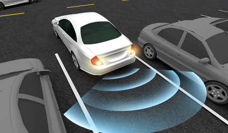 Intelligentes Auto, Parkt automatisch auf dem Parkplatz mit Parkassistenzsystem, 3D-Rendering-Bild.