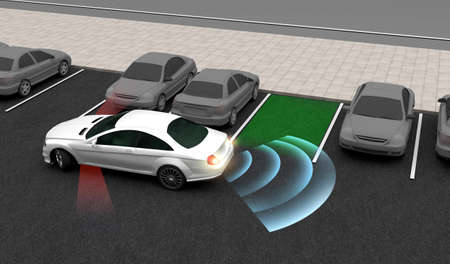 Smart car, Automatically parks in the Parking lot with Parking Assist System, 3D rendering image.