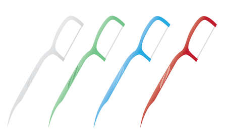 Dental Floss Picks, Multi-color isolated on white background, Realistic design illustration Vector.