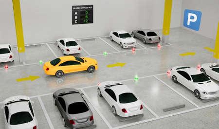 Sistema de guía inteligente para estacionamientos con indicadores en el suelo, sensores inteligentes que ayudan al control / monitorización, gestión eficiente, renderizado 3D