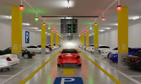 Sistema di guida intelligente per parcheggi con indicatori in testa, sensori intelligenti assistono il controllo/monitoraggio, gestione efficiente, rendering 3D Archivio Fotografico