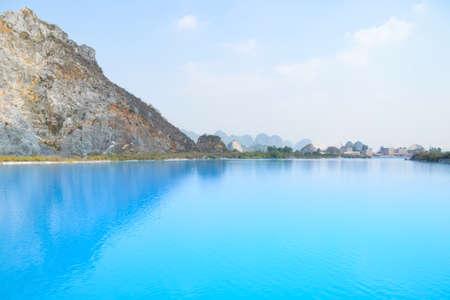Tuyet Tinh Coc lake , Natural color Crystal Blue lake at Trai Son mountain, Hai phong, Vietnam
