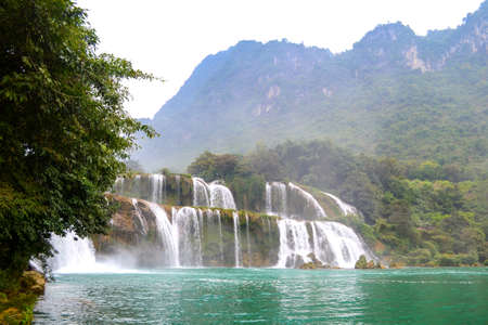 Ban Gioc Waterfall or Detian Falls, Vietnam's best-known waterfall located in Cao bang Border with China