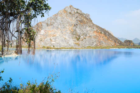 Tuyet Tinh Coc lake , Natural color Crystal Blue lake at Trai Son mountain, Hai phong, Vietnam