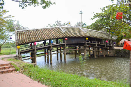 Thanh Toan Bridge, The ancient wooden Bridge on the river perfume near Hue City, Vietnam Stock Photo