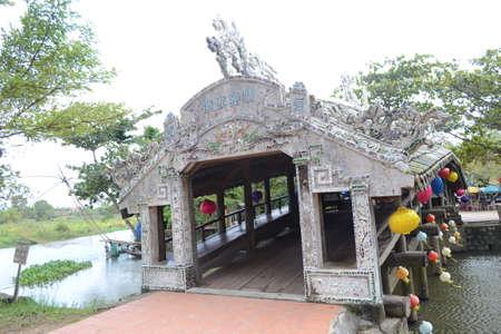 Thanh Toan Bridge, The ancient wooden Bridge on the river perfume near Hue City, Vietnam Stock fotó