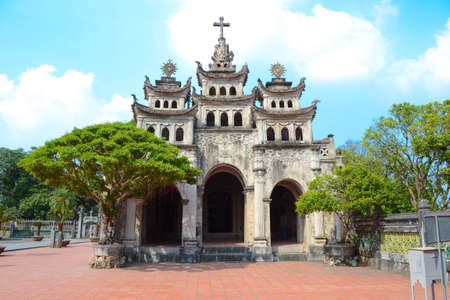Phat Diem Stone Cathedral, Phat Diem church is a cross between Vietnamese and European styles, It took 24 years to build this church from 1875 to 1898. Editorial