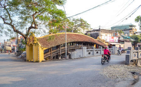 Nam Dinh, Vietnam - Nov 26, 2018 : Cho Luong Ancient tile bridge or Cau Ngoi in Vietnamese, It was built in the late 15th century, One of the most beautiful tile bridges in Vietnam.