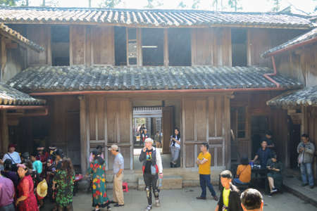 Dong Van, Vietnam - Dec 1, 2018 : Wooden architecture houses with tiled roofs. The palace of King of Hmong people 에디토리얼