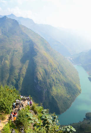 Stunning view of the Nho Que river surrounded by mountains from the Ma Pi Leng pass, Northern Vietnam