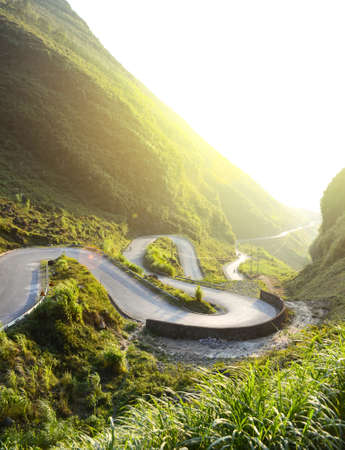 Amazing mountain pass road called Nine Ramps or Doc Chin Khoanh in Vietnamese near Dong Van Karst geological park, Vietnam Stock Photo