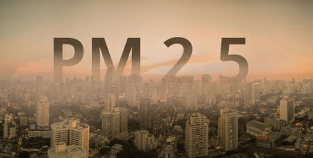 Smog city from PM 2.5 dust. Cityscape with bad air pollution. PM 2.5 concept Stok Fotoğraf