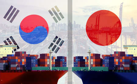 Conceptual image of Trading and shipping, South Korea and Japan commerce trade relationship