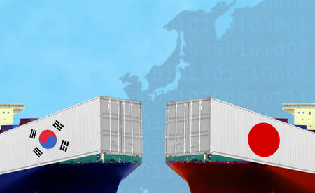 Conceptual image of Trading and shipping, South Korea and Japan