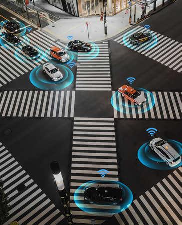 Smart car, self-driving mode vehicle with Radar signal system and and wireless communication, Autonomous car Redakční