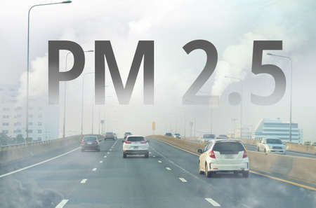 Smog city from PM 2.5 dust. Cityscape with bad air pollution, PM 2.5 concept photo, Bangkok, Thailand