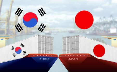 Concept image of South Korea - Japan trade war, Japan Export ban, Boycott, Economy conflict ,Tensions