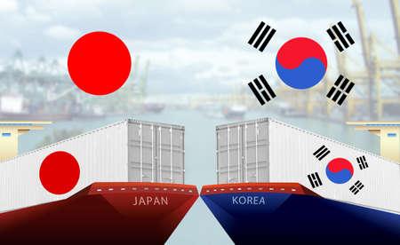Concept image of Japan - South Korea trade war, Japan Export ban, Boycott Economy conflict ,Tensions