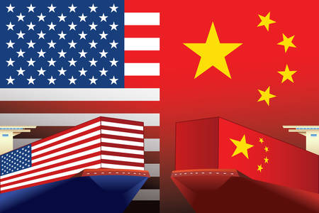 Concept image of USA-China trade war, Economy conflict, US tariffs on exports to China, Trade frictions, Vector illustration